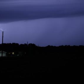 Watch Out by Scott Valenzuela - Novices Only Landscapes ( farm, lightning, sky, night, storm )