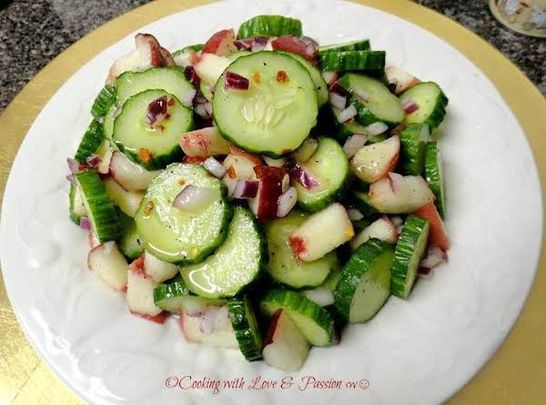 Cucumber & White Peach Salad Recipe