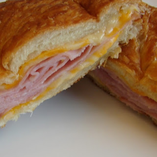 Hot Ham and Cheese Croissant Sandwiches.