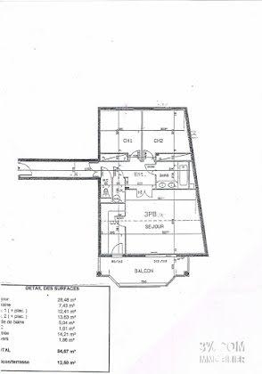 Vente appartement 3 pièces 85,5 m2