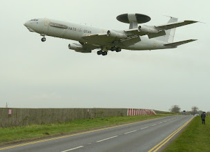 Photo: NATO E-3A Sentry coming in low over the A15 at RAF Waddington.