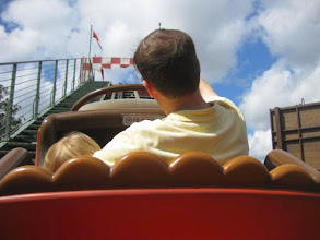 Photo: Day 2 - Grady Jeremiah has become quite the roller coaster fanatic. Papa got this picture for us of him on the front row of the Barnstormer.