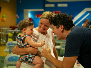 Photo: Then it was off to the bowling alley to keep out of the rain. Everett was so excited to spend some time with Jenn before the baby arrived!
