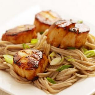 Miso-Glazed Scallops with Soba Noodles.