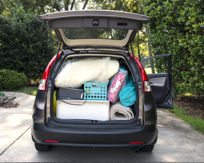 Packed SUV in preparation for a move.