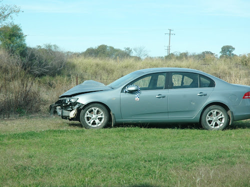 The car at the scene of the crash at Narrabri Lawn Cemetery.