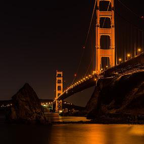 Golden Gate by Claus Dahm - City,  Street & Park  Night ( lights, golden gate bridge, marin, california, night, san francisco )