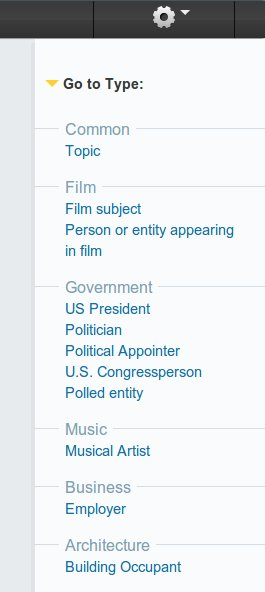 Photo: The display on the right hand side, visible when you click Go to Type serves both as a table of contents and a way to navigate this topic. Clicking on a domain or type will quickly scroll the page down to that type. You can use to navigate to a particular domain or type, without filtering.