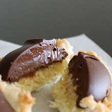 Photo: layering textures and flavours  Lessened impact when they're merely two bites? Ahem.  chocolate crème pâtissière with coconut cream