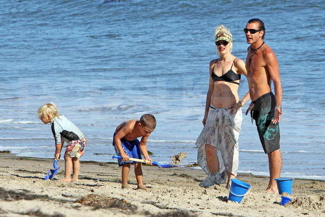 Gwen Stefani and family on the beach in Jamaica.