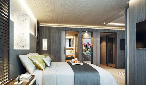 scenic-aura-deluxe-suite - The Deluxe Suite on Scenic Aura, which will sail the Irrawaddy River in Myanmar.