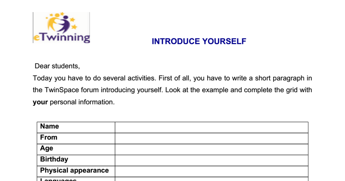 how to introduce yourself in a short paragraph