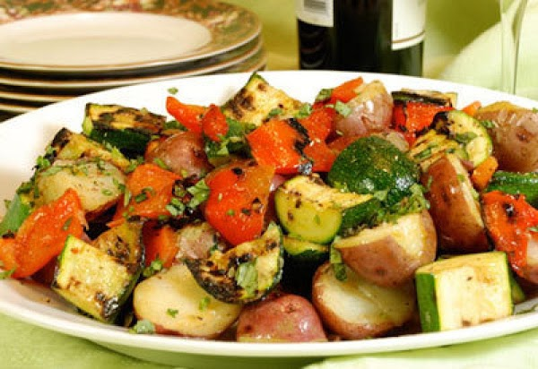 Grilled Zucchini With Roasted Peppers And Potatoes Recipe