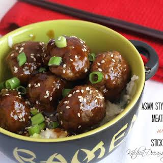 Asian Style Glazed Meatballs with Sticky Rice.