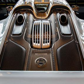 Porsche 918 by Steve Kazemir - Transportation Automobiles ( car, detail, engine, silver, porsche, back )