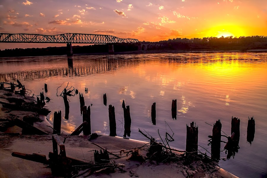 Thebes Sunset by David Patterson - Landscapes Sunsets & Sunrises ( history, reflection, thebes, sunset, il., dock, trains, river,  )