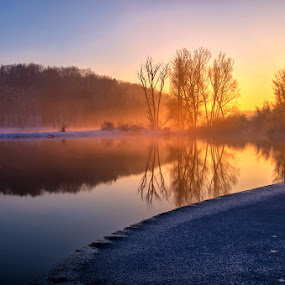 The River by Tomaž Mikec - Landscapes Waterscapes ( water, reflection, winter, riverside, sunset, sunrays, sun, river )
