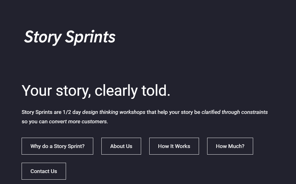 Image with a slogan describing the purpose of Story Sprint.