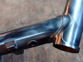 Photo: The stainless down tube and head lugs, ready for polish.  I added the somewhat hidden Di2 port here too should Dave ever want to make the switch.
