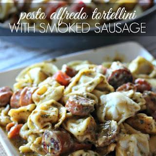 Pesto Alfredo Tortellini with Smoked Sausage