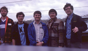 Photo: Dayton 1983 - W2SQ, K1RT, K1AR, K1DG, W2PA. One hairy bunch of hams.   Note that this is the same group that founded the Holiday Eyeball QSO at W1AW much later (see later photos).