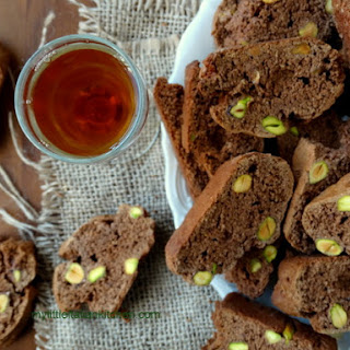Cantucci Biscuits With Chocolate And Pistachios