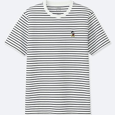 Black and white striped shirt with Mickey Mouse logo on it.