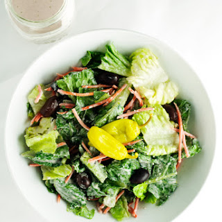 Restaurant Style House Salad with Creamy Parmesan Dressing.
