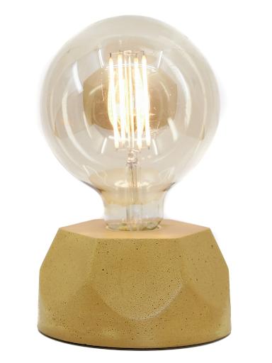 Lampe design en béton jaune moutarde avec son ampoule à filament