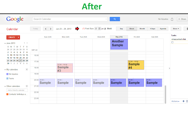 Google Calendar with Readable Fonts
