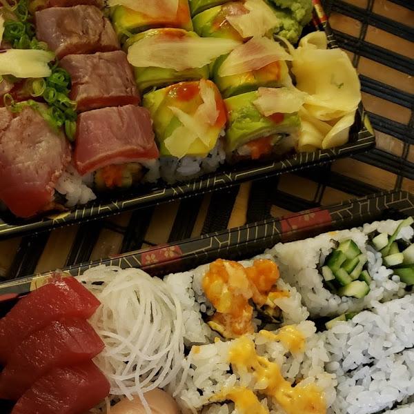 Specialty rolls (top) are Tuna Tataki and TNT.