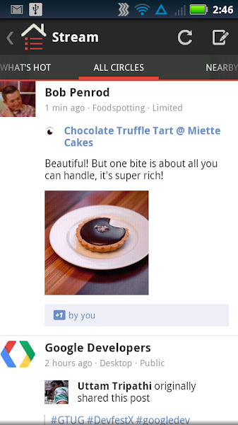 Photo: Here's what a share post from Foodspotting looks like in the Google+ stream.