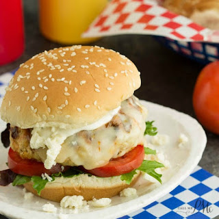 Buffalo Style Chicken Burgers with Easy Blue Cheese Ranch Dressing
