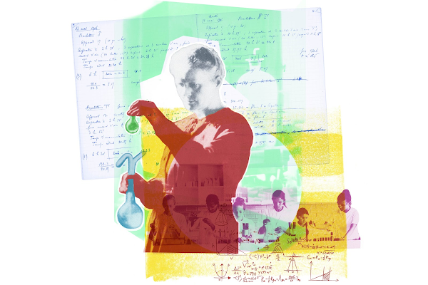 A collage of the scientist, Marie Curie.