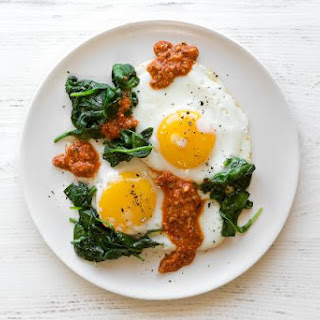 Fried Eggs With Spinach And Romesco