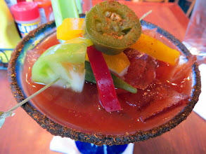 """Photo: 16.Spicy Shirley Blog-Pechluck's Food  Your name - Pechluck Laskey Your blogs URL - Adventures, http://pechluck.com/ Title/caption for your photo - Caption """"Monday breakfast at Miss Shirley's:, a version of a Bloody Mary with Absolut Citron, Green Tomato Slice, Pickled Okra, Peppers, Jalapenos, Celery, Peppadews, Lemon Wedge & Lime Wedge, with an Old Bay Rim"""" URL of the post where the photo appears - http://pechluck.com/miss-shirleys-baltimore/ What camera and lens you used Camera: Canon PowerShot SX260 HS ISO: 800 Exposure: 1/25 sec Aperture: 3.5 Focal Length: 4.5mm Flash Used: No"""