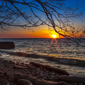 Sunset at the Fort by John Witt - Landscapes Sunsets & Sunrises ( lake ontario, waterscape, sunset, rocky shore, old fort niagara )