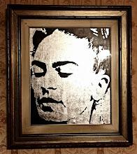 Foto: Frida Silver version  74x84cm  Foglia argento su tela Stencil con ausilio di vernici acriliche spray Cornice primi anni '70 (originale) con vetro  DISPONIBILE  Per informazioni e prezzi: manualedelrisveglio@gmail.com