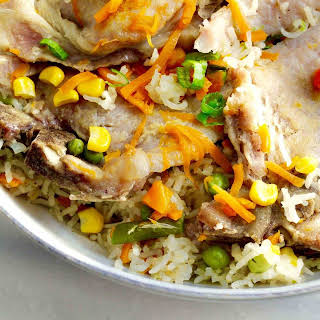 Instant Pot Pork Chops & Rice with Vegetables.
