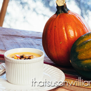 Pumpkin Soup with Apple-Cranberry Relish and Spicy Pepitas