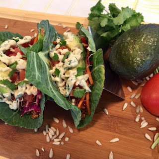 Sunflower Tacos in Collard Leaves.