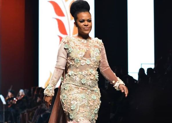 Zodwa Wabantu walked down the runway at the Durban Fashion Fair on Thursday.