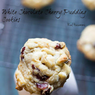 White Chocolate Cherry Pudding Cookies.