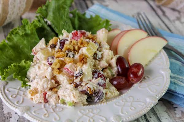 Chicken Waldorf Salad On A Plate.