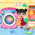 Mom Baby Clothes Washing Laundry icon