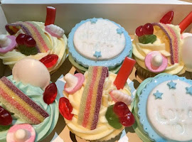 Cupcakes decorated with sweets