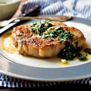 Seared Pork Cutlets With Green Garlic Salsa Verde