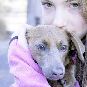 by Sandy Considine - Babies & Children Child Portraits ( green eyes, puppy, young girl )