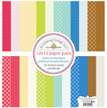 Doodlebug Petite Prints Double-Sided Cardstock 12X12 12/Pk - Down On The Farm