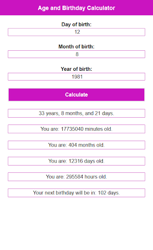 Age and Birthday Calculator DM 1.3 screenshots 2